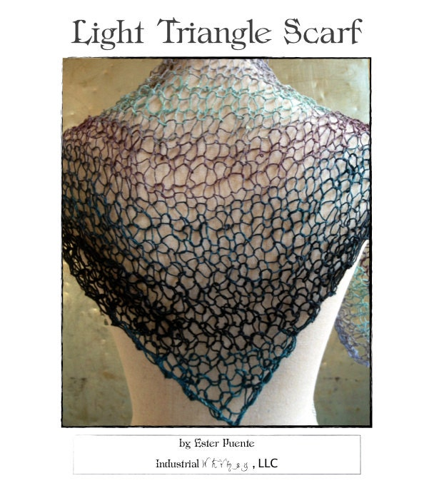 Knitting Pattern Lightweight Scarf : Light Triangle Scarf Knitting Pattern Lacy Scarf Lightweight