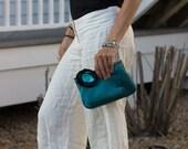 "Teal Clutch - 8"" blue flower formal occasion wedding purse bag handmade valentine's day for her"
