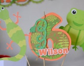 Cake Topper Reptile Party Decorations, Frog Birthday, Snake Party, Iguana, Lizard - Centerpiece