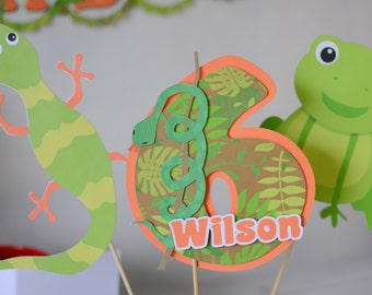 Boy Reptile Birthday Party Cake Topper Decoration - Snake, Lizard, Frog