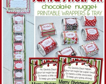 SANTA'S HELPER Christmas Chocolate Nugget Wrappers, Holiday Party Favor or Treat - Printable Instant Download