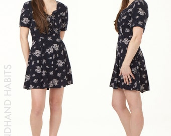 90's Grunge Navy Floral Mini Dress