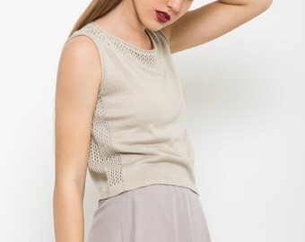 Ivory crop top, summer Beige shirt, semi sheer knit, sleeveless tank top, day to night top, knit top, tank top,
