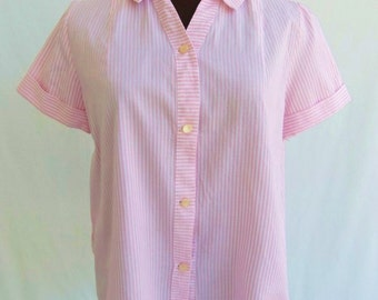 Vintage 60s Blouse Maternity Pink and White Striped Size M / L