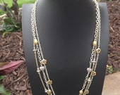 Gold Silver Long Triple Chain Necklace