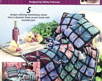 Annie's Attic CROCHET CHAINLINK Afghans and Pillows - Interlocking Chain Designs