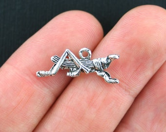 8 Grasshopper Charms Antique Silver Tone 2 Sided - SC3794