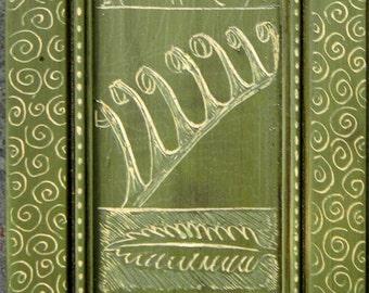 Fern Specimens on Antiqued Green with Swirls