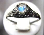 Tiny Rainbow Moonstone Handmade Ring Sterling Silver blue moon antique filigree fine jewelry custom size 3 4 5 6 7 8 9 10 half sizes