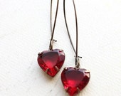 Heart Earrings Red Rhinestone Earrings Ruby Red Vintage Glass Drop Earrings Romantic Valentines Jewelry Long Earrings Dangle Earrings