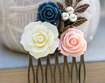 Flower Hair Comb, Wedding Hair Accessories, Floral Collage Comb, Ivory Cream Rose, Pearls Branch Leaf Leaves Pink Peach Rose Navy Blue