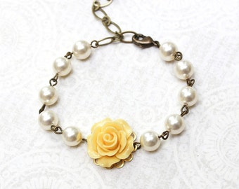Bridemaids Gift Yellow Rose Bracelet Pearl Bracelet Flower Bracelet Wedding Jewelry Maid of Honor Gift Romantic Jewelry Bridal Accessories