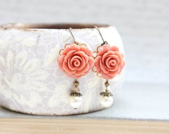 Coral Rose Earrings Dark Peach Flower Earrings Long Pearl Drop Floral Dangle Earrings Leverback Wedding Jewelry Bridesmaids Gift Romantic