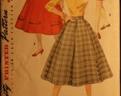 Simplicity 1691 Misses Full Skirt 6 Gore - 3 Styles Vintage 50s Sewing Pattern