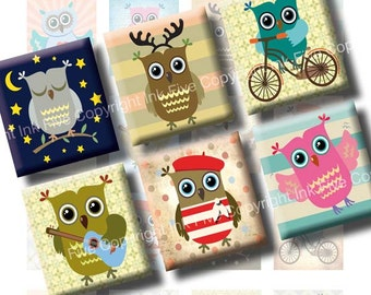 Little Owls printables & downloads scrabble tile images 0.75x0.83 inch squares. Digital Collage Sheets for kids pendant. Digital images