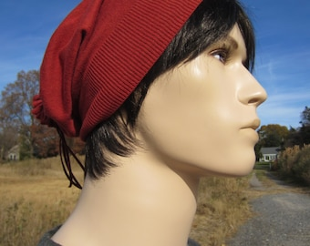 Rust Orange Cotton Slouchy Knit Hat Beanie Lightweight Mens Beret A977