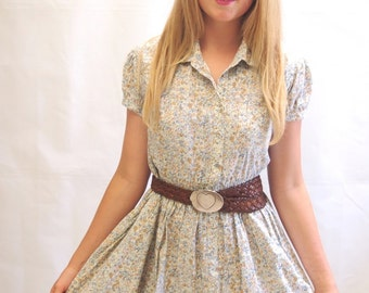 Vintage 1980's Ecru floral festival cotton sun dress mini dress