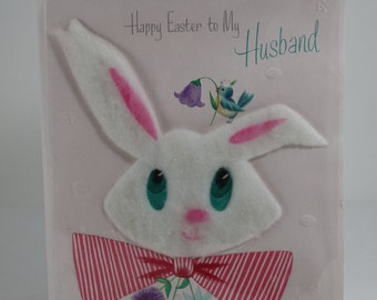 Vintage Easter Day Card To My Husband Large Puffy Easter Bunny Ephemera Scrap Booking