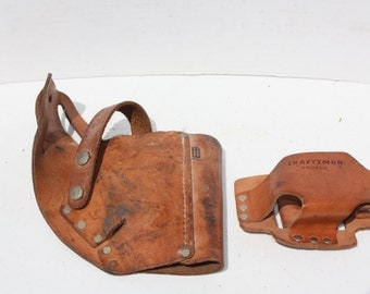 Vintage Leather Tool Utility Pouches Craftsman