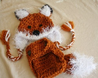 Fox Hat and Cover Set - Baby Fox Hat  with Cover and Tail- Halloween Costume - Fox Hat Set and Tail - by JoJosBootique