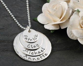4 Disc Layered Hand Stamped Necklace - Personalized mother's jewelry