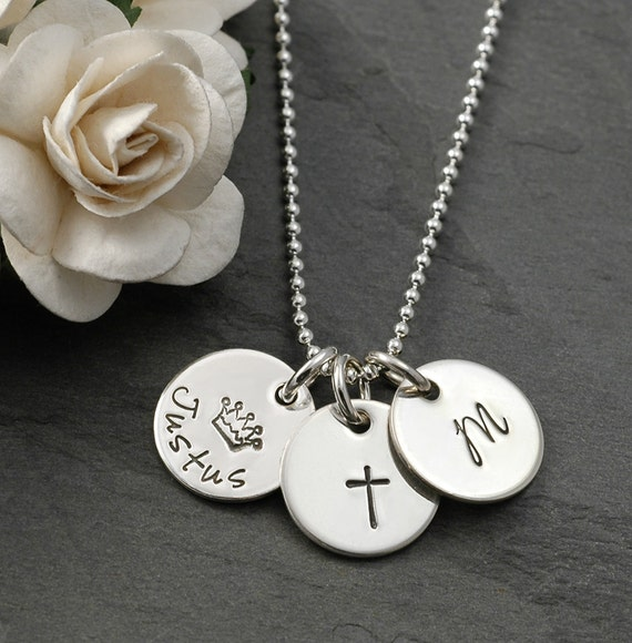 "Personalized Mothers Necklace, Three 1/2"" hand stamped charms, jewelry for mom, grandma, grandmother, mommy"