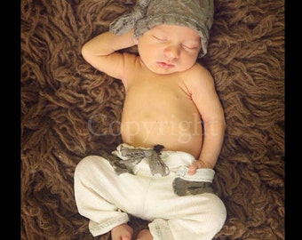 Newborn Boy Photo Prop, Newborn Pants and Hat, Newborn Fabric Pants and Knot Hat, Newborn Photo Prop, Baby Pants and Knoted Elf Hat