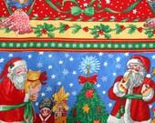 Vintage Holiday Fabric, Concord Fabrics, Sharon Kessler, Cotton Remnant, Christmas Print