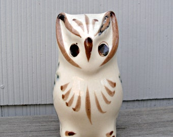 Vintage Owl Figurine | Hand Painted Pottery Clay Owl