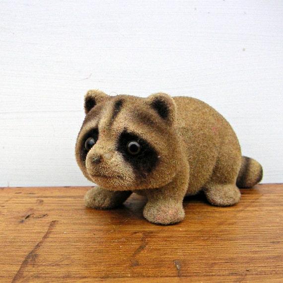Vintage Flocked Ceramic Raccoon Figurine