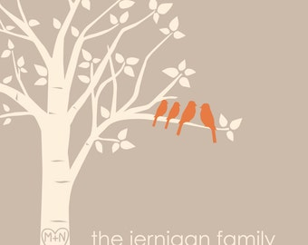"Family Tree Print Personalized Custom Love Birds Wedding Family Tree Art Print Anniversary Gift - Gift for Mom - 11""x14"" (You Choose Colors)"