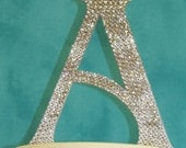 Custom handmade Swarovski Crystal Monogram Cake Toppers - wedding cake topper