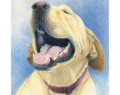 "Yellow lab dog panting and smiling - ""Pant"" - Blank Note Card - Greeting Card, Stationery, Special Occasion, Holiday, Birthday, Just Because"