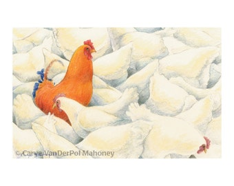 "Orange chicken surrounded by dozens of white hens - ""Rebel"" - Blank Note Card - Greeting Card, Special Occasion, Just Because, Holiday"
