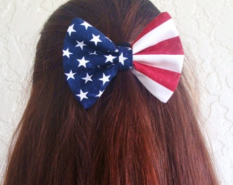 Hair Bow Vintage Inspired American Flag Clip Rockabilly Pin up Teen Woman Girl Fourth of July Alligator Clip, French Barrette