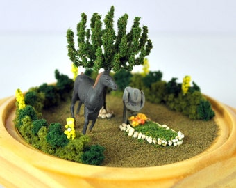 Cowboys Best Friend - Cowboy Memorial Cemetery Scene Miniature Garden Memorial Garden Missing You Handmade by A Garden to Treasure