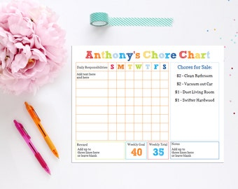 Boys Chore Chart - INSTANT DOWNLOAD Printable Chore Chart by 505 Design Inc