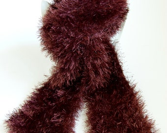 CLEARANCE - Brown Scarf Fluffy Knitted Long Chocolate Brown Eyelash Scarf Sale by Emma Dickie Design