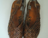 Vintage BOHO Handmade WOVEN Leather Sandals. Size 5.5 (Euro 36)