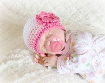 Crochet Baby Girl Beanie Newborn to 5T Hat White/Soft Pink/Watermelon - MADE TO Order