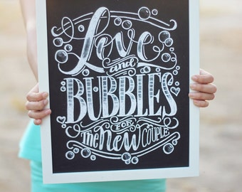 "Art print - Wedding - 11x14"" Love and bubbles for the new couple"