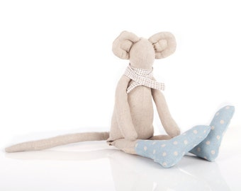 Stuffed animal mouse canvas doll  - plush natural minimalist mouse , in beige scarf and dotted pale blue socks - eco friendly handmade doll