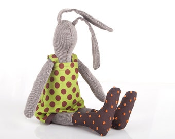 Plush brown woven stuffed rabbit soft doll ,handmade girl bunny ,in olive green polka Dots dress & brown orange socks , timo eco fabric doll