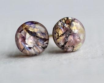 Amethyst Opal Stud Earrings ... Purple Mauve Opal Earrings Vintage Glass