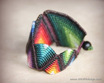 RAINBOW CUFF bracelet, wide colorful cuff, hand-knotted fabric BRACELET by ARUMIdesign