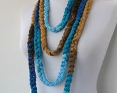 Knitted jewelry - Knit Scarflette Necklace - Braided Necklace - in caramel, blue and brown tones   E239