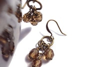 Light Brown Faceted Glass Beads, Wire Wrapped Brass Bronze Antique Gold Dangle Earrings
