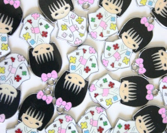 White Kimono Kokeshi Doll - Japanese doll metal charms (2)