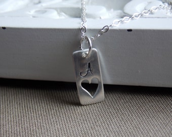 Personalized Heart Cut Out Rectangle Tag Necklace, Sterling Silver Charm, Heart Initial Necklace, Mothers Day, New Mom Initial Jewelry