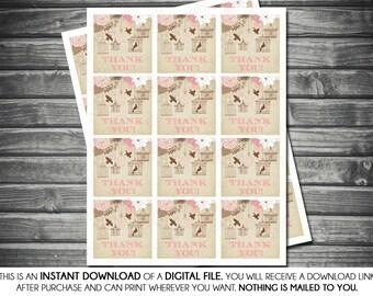 Instant Download Baby Shower Favor Tags - Girl, Floral, Pink, Brown, Birdcage, Birds, Printable, Digital